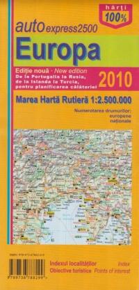 AutoExpress2500 Europa - Mare harta rutiera 1:2.500.000 (Editie noua 2010)