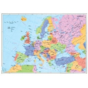 Europa - Harta politica + harta contur (verso), 160x120 cm