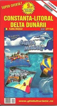 Harta Constanta-Litoral,Delta Dunarii si Romania Turistica si rutiera(2 harti in una singura)