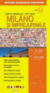 Harta orasului Milano si imprejurimile (Scara 1:12.000 si 1:250.000)