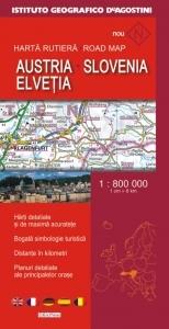 Harta rutiera Austria, Slovenia, Elvetia (Scara 1:800.000)