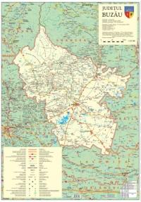 Judetul Buzau-harta cu sipci de lemn(70X100cm)