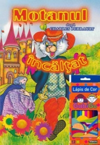 Motanul incaltat carte colorat Creioane