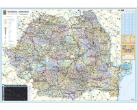 Romania - Harta adm. si rutiera (hartie laminata) 140x100