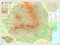 Romania - harta fizica 160x120 cm (laminata)