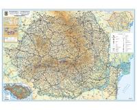 Romania - Harta fizica (hartie laminata) 140x100