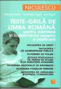 Teste grila limba romana pentru