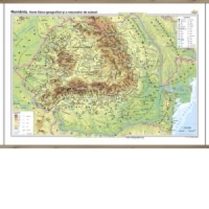 Romania Harta Fizico Geografica Si A Resurselor Naturale De