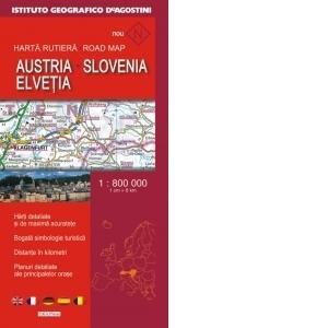Harta Rutiera Austria Slovenia Elvetia Scara 1 800 000 In