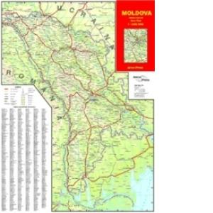 Republica Moldova Harta Rutiera Scara 1 650 000 Dim 50x70 Cm