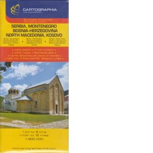 Harta Rutiera Serbia Muntenegru Bosnia Herzegovina Macedonia