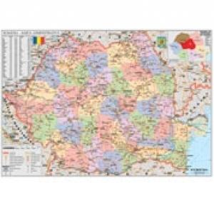 Romania Harta Administrativa 100 X 70 Cm Poster Cu Sipci De
